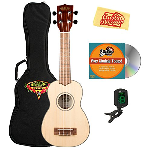 Kala KA-SSTU-S Soprano Travel Ukulele Bundle with Gig Bag, Clip-On Tuner, Austin Bazaar Instructional DVD, and Polishing Cloth