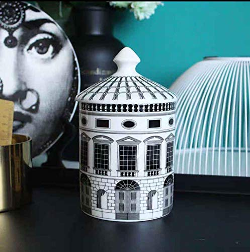 X-CRAFT Geometric Candle Retro Fornasetti Neuschwanstein Castle House Decorative Candle Holder Plate Creative White Black Geometric Lines Home Decor