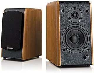 "Microlab Chairman B77BT Active Powered Bookshelf Speakers - Bluetooth Speakers- Heavy Bass - Desktop Speakers - Studio Monitor Speaker - Wooden Enclosure, 4"" Sub-Woofer and 0.75"" Tweeter - 64W RMS"