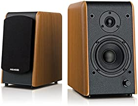 "Microlab Chairman B77BT Active Powered Bookshelf Speakers - Bluetooth Speakers- Heavy Bass - Desktop Speakers - Studio Monitor Speaker - Wooden Enclosure, 4"" Sub-Woofer and 0.75"" Tweeter - 64W RMS"