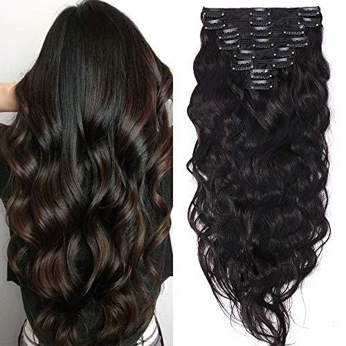 Clip in Extensions Echthaar Remy Haarverlängerung für komplette Haare 8 Tressen Doppelt Dicke Gewellt 45cm-140g(#1B Naturschwarz)