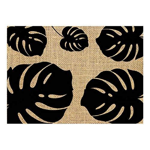 Les Trésors De Lily [Q4139 - Set de Table Toile de Jute 'Jungle' Beige Noir - 42x30 cm