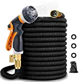 Garden Hose, Expandable, Durable Lightweight, Flexible Expanding, Double Latex Core, 3/4 Solid Brass Fittings, Extra Strength Fabric, 8 Function Spray Nozzle Water Hose (50FT) (100FT)
