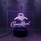 Visión Nocturna 3D Luminosa, Led De Ilusión Visual, Lámpara De Cambio De 7 Colores, Juguete Modelo Royal Crown De Whisky