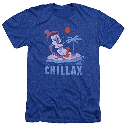 Trevco Men's Chilly Willy Short Sleeve T-Shirt, Heather Royal Blue, X-Large