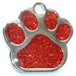 Engraved 27mm Glitter RED Paw Shaped Pet ID Tag – In Stock and Supplied by Busy Bits
