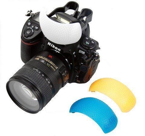 BlueBeach Pop-up Blitz Diffusor mit Orange, Weiß und Blau Filter Farbfilter kompatibel mit Canon Nikon Sony Pentax Panasonic Fuji JVC Kodak DSLR...