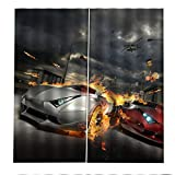 Cortinas Salón Opacas, 100% Poliéster Modernas Cortinas Cortas con Ojales, Termicas Aislantes Cortinas Fácil de Instalar 2 Paneles 75x166 cm - Carrera de Coches