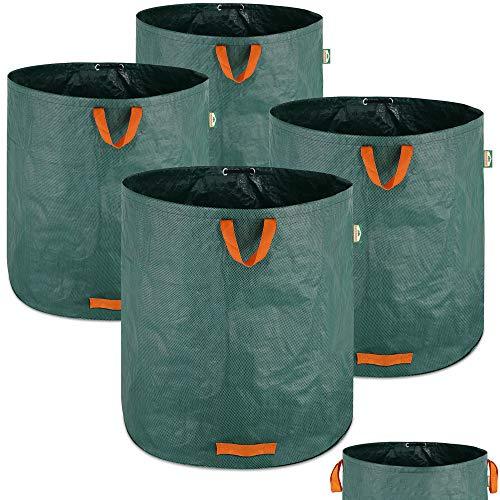 Gartenabfallsack 4 x 500 L = 2000L Gartensack mit Stabilisierungsring Laubsack wasserabweisend Gartensäcke faltbar