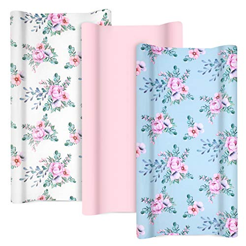 TILLYOU Jersey Knit Changing Pad Covers 170 GSM  Thicker Softer Diaper Change Table Sheets for Baby Girls Boys  Fit 32quot/34#039#039 x 16quot Pad Comfortable Cozy Cradle Sheets3 Pack Floral