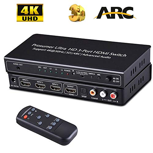 QuadriValue HDMI 交換 オーディオ 分離機 スプリッター4K 自動 交換 ハブ アーク リモート セレクタ付き 同軸に3ポート /光 SPDIF Toslink と 3.5 mm/LR RCA 出力 3D ビデオ 拡張 ボックス