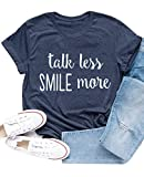 Ykomow Hamilton Shirts Talk Less Smile More T Shirts Womens Young Scrappy & Hungry Graphic Tees (Navy, L)