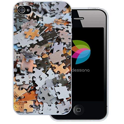 dessana Puzzle transparante beschermhoes mobiele telefoon case cover tas voor Apple, Apple iPhone 4/4S, Pattern puzzel