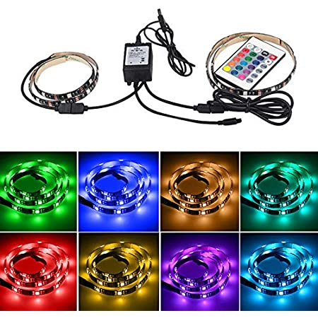 LEDテープライトUSB接続 テレビ照明 PC照明 装飾照明 チューブライト 間接照明24キーリモコン付き 高輝度 防水防滴 強粘着両面テープ仕様 カラフル/RGB