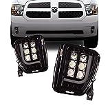 Tecoom LED Upgrade Fog Light with Daytime Running Lights for 2013 2014 2015 2016 2017 Ram 1500, 1 pair Truck Fog Light Assembly Driving Fog Lamps L-type DRL