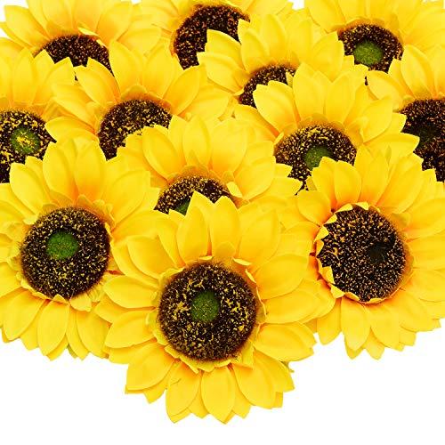 Artificial Sunflower Heads, 12 Pcs Silk Faux Sunflowers Yellow Gerber Daisies for DIY Wedding Fall Autumn Party Cupcake Hair Clip Wreath Topper Decoration, 5.9 (Yellow Sunflower Heads)