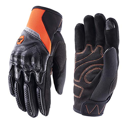 Guantes de Pantalla Táctil para Moto, Guantes Motocicleta Vintage de Sport Motocross,Guantes de Moto Verano Transpirable para Hombre Mujer(Naranja,M)