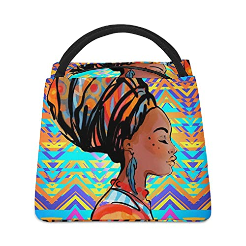 Portrait of Beautiful African Woman with Earring Insulated Lunch Box Tote Bag Custom Handbag Printed Cute