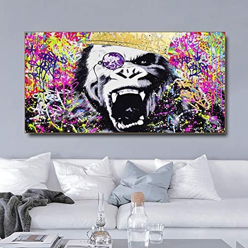 Pintura sin Marco Arte Sonrisa Gorila Mono Animal Poster Lienzo Pintura Sala decoración Pintura ZGQ2057 30X60cm