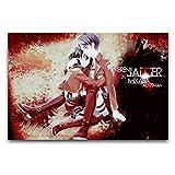 WPQL Figuras de anime de Attack on Titan Mikasa Ackerman Eren Jeager, lienzo de 30 x 45 cm