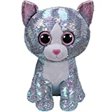 Stuffed.Animals Ty Sequins Flippables Animal Plush Toys Doll Malibu The Cat Moonlight The Owl Jewel The Fox Best Christmas 15cm-Whimsy Cat