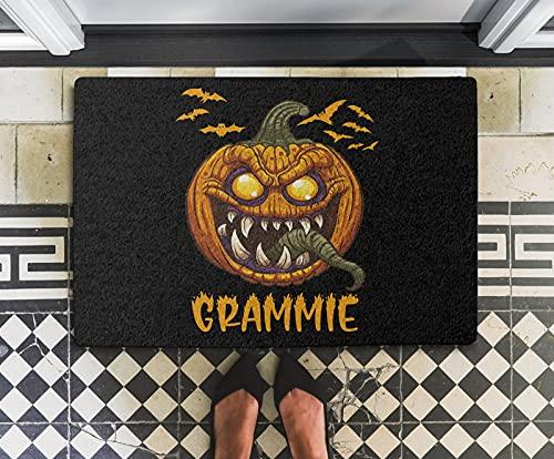 Halloween Doormat - Pumpkin Scary Grammie Funny Matching Family Halloween 24x16 Inch Outdoor Front Door Mat Kitchen Mat