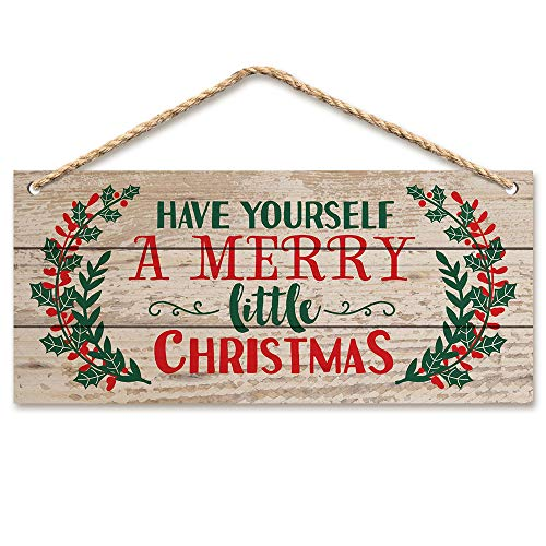 WAOU Christmas Door Hanging Sign,Wall Wood Winter Decorations Signs,Indoor Outdoor Decorative Ornament for Home, Classroom, Office