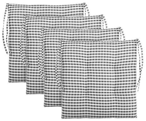 Brandsseller Cojín de asiento para silla a cuadros, cojín de asiento acolchado para jardín, 40 x 40 cm, color antracita, gris claro, marrón, beige (paquete de 4 unidades), color gris oscuro