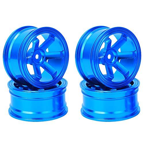 Tbest Cubo de Rueda RC, 4 Piezas de Cubo de llanta de aleación de Aluminio para Universal 1/10 Flat Running Drift RC Car(Azul)