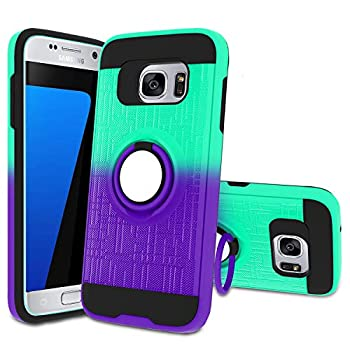 Galaxy S7 Case S7 Phone Case with HD Screen Protector,Atump 360 Degree Rotating Ring Holder Kickstand Bracket Cover Phone Case for Samsung Galaxy S7 Mint/Purple