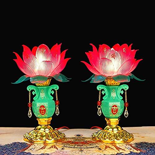 1Pairs Jade Vase Lotus Lantern Buddha Lamp Electric Candle Incense Lanterns Home Decoration