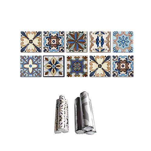 Sici Fliesenaufkleber Badezimmer Fliesenfolie Mosaik Fliesensticker Bad Fliesen Selbstklebend Fliesendekor, 3D Fliesenaufkleber kKüche Fliesen Folie Wand Fliesen Aufkleber, 2er Pack
