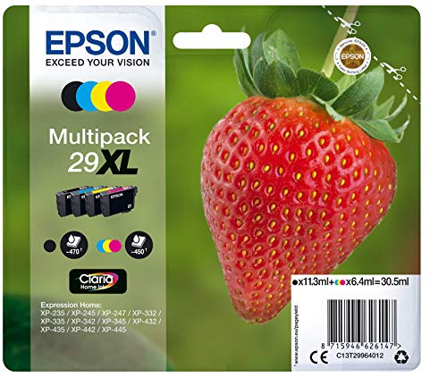Epson Claria Home 29 - Multipack XL 30.5 ml, negro, cian, magenta y amarillo, paquete estándar, XL válido para los modelos XP-235, XP-245, XP-247 y otros