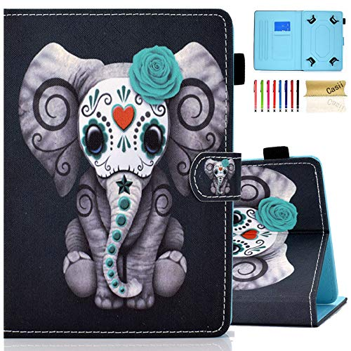 Case for 7.5-8.5 inch Tablet, Casii Ultra Lightweight Protective PU Leather Magnetic Folio Stand Cover for iPad Mini 1 2 3 4 5, Galaxy Tab A 8.0/ Tab E 8.0, A mazon F ire H D 8 (Elephant)