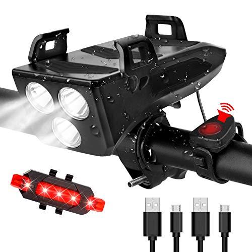 RaMokey LED Fahrradlicht, USB Wiederaufladbare 4 in 1 Fahrradbeleuchtung Set, Wasserdicht Fahrradlicht Vorne Rücklicht Set, 600 Lumen, 3 Licht-Modi, Handyhalter, Lautsprecher, Mobilstrom(4000mAh)