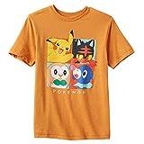 Hybrid Pokemon Big Boys' Pikachu 4 Square Tee XL(18/20) Orange Heather