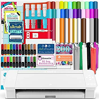 Silhouette White Cameo 4 w/Blade Pack 38 Oracal Sheets HTV Pens Guides & More