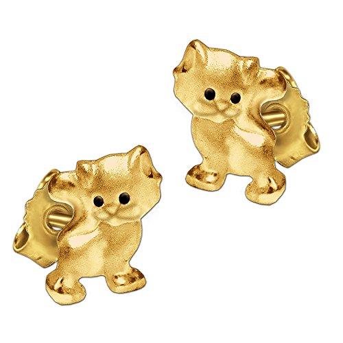 Clever Schmuck Goldene kleine Kinder Ohrstecker Mini Katze 6 x 5 mm mit schwarzen Augen seidenmatt und glänzend 333 GOLD 8 KARAT für Kinder