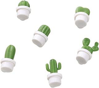 🍀Libobo🍀6pcs Cute Succulent Plant Magnet Button Cactus Refrigerator Message Sticker Magn (White)