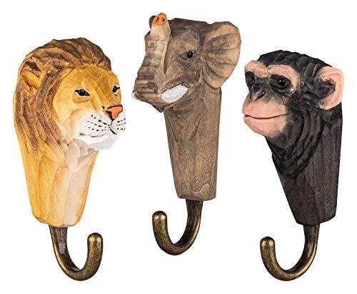 3 Colgadores de Pared Ganchos de Madera para Ropa, La fauna de África: Elefante, León y Mono, hechos a mano, con Ganchos de Metal