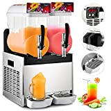 VBENLEM 110V Commercial Slushy Machine 30L Double Tank 700W Stainless Steel Margarita Frozen Drink With Powerful Compressor Efficient Cooling Perfect for Supermarkets Cafes Restaurants Bars