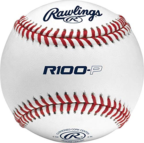 Rawlings R100-P High School Leather Practice Baseballs, Box of 12, White, one Size