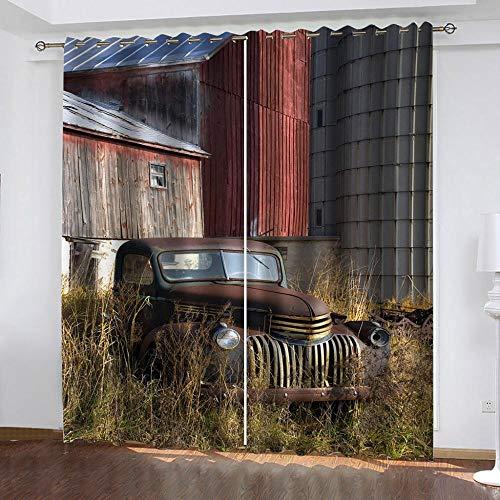 LucaSng Retro Cortinas Salon 2 Piezas SUV Cortinas Opacas termicas aislantes Frio y Calor 3D Patrón Cortinas Infantiles habitacion Opacas con Ojales 140x200 cm