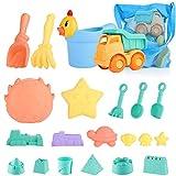 SHANNA Juguetes de Playa para niños, Juego de Juguetes de Playa y Arena para niños con Camion Bucket Castle Moldes y Bolsa de Malla Material plastico Blando (21 Piezas)