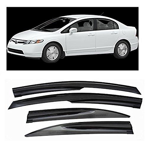 VXMOTOR for 2006-2011 Honda Civic Sedan 4DR JDM Mugen Window Visors Sun/Rain Guard Deflectors