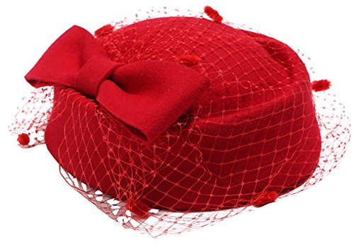 Pillbox Hat Fascinator Beret Wedding Party Top Hat Church Wool Hat for Women (Red)