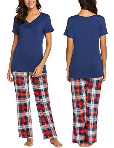 MAXMODA Damen Schlafanzug Pyjama Set Kurzarm Baumwolle Hausanzug Sleepwear Nachtwäsche Zweiteilig mit Kurzarm und Lange Hose