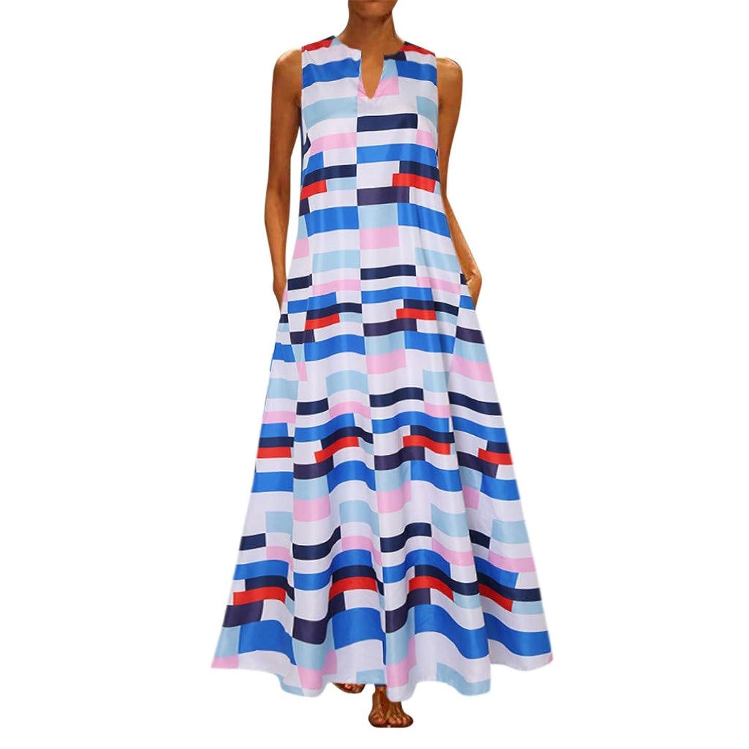 Sttech1 Women Plus Size Maxi Dress Daily Casual Sleeveless Vintage V Neck Long Dress