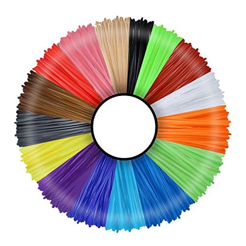TOFOTL 3D Penna Filamento Ricarica PLA 16 Colori, Rusee 1.75mm PLA Fliament Set per la Stampa 3D Hobby Creativi 3D Stampante, 5M Ogni Colore