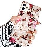 Ownest. Compatible con iPhone 11 Funda con flores rosas y blancas para mujeres y niñas, vintage rosa floral romántico, suave, flexible y duradera carcasa de TPU para iPhone 11